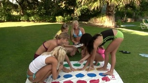 Teen seductive bitches are outdoors having fun while playing