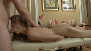 Darling gives pleasurable oral-stimulation after getting oil massage