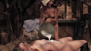 Lesbo bawdy cleft eating in barn