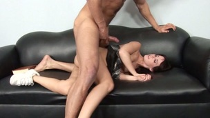 Strong guy fills taut fuckholes of a reluctant schoolgirl