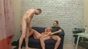 Lusty stud is pounding two constricted snatches zealously