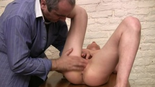 Charming old teacher is drilling sweet honey from behind