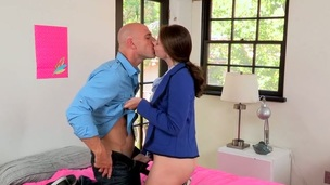 Hunk thrashes beautys petite hole wildly from behind