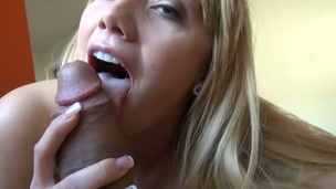 Horny gal with tasty body plays with a large ribbed marital-device
