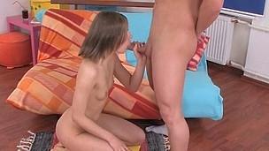 After playing with lad's dick, neat legal age teenager beauty gets fucked well