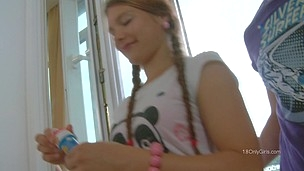 Teen in pigtails split and fucked like a teen whore