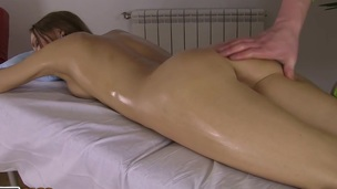 Cute hotty acquires a relaxing massage and a dick up her slit