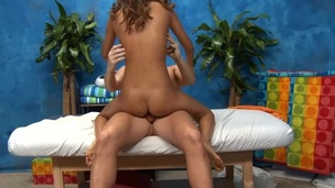 Teen curly brunette is getting her mouth attacked with the schlong