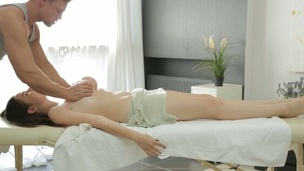 Hunk is getting beauty excited for fucking with massage