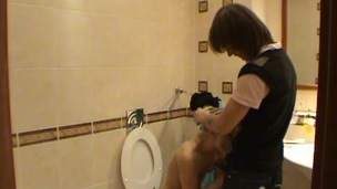 Legal Age Teenager fucking takes place in a petite bath with a hawt blond
