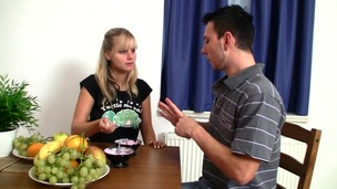 Breasty golden-haired honey bows over the table and gets drilled hard
