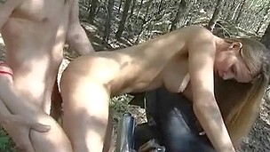 Chap and loveliness are riding motorbike feeling strong temptation to have wild pounding