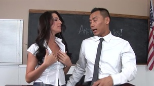 Tattooed dude is fucking her i the class room during masturbation
