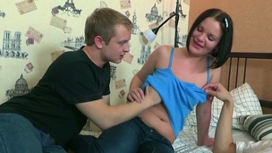 Sweet darling is satisfying studs with her cunt and throat