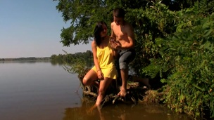 Legal Age Teenager doxy starts gratifying her fuckmate with sex in the lake