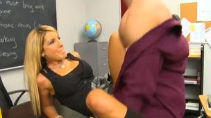 Slutty teacher copulates a cute schoolgirl in the classroom