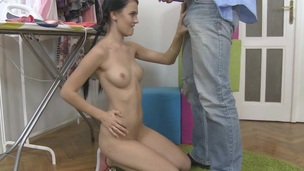 Hunk is delighting sweetheart with a lusty anal thrashing