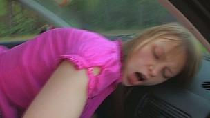 Two horny teens roadside fucking in a car