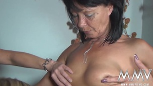 Those horny sluts finger fuck and eat every other's slits out. Older and youthful German sluts cum off every others muff!