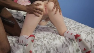 Screaming slut is giving the blowjob to the black hard penis