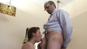 Horny teacher is pounding beauty at the kitchen counter