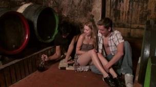 Teenies organize stunning threesome fucking in the wine cellar
