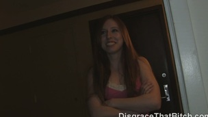 Our neighbour Sophie locked herself out of her apartment and came to us for assist. Sure! I knew a ideal locksmith with a large tool to unlock her welcoming love tunnel. This redhead with pierced teats and a cute bush betwixt her legs took my buddy's dick on camera and got fucked to orgasm like a messy whore. What did this babe expect being pretty, stupid and horny like that? Then we just threw her out as beautiful soon as my roommate gave her a messy facial. Sucker!