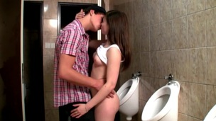 Horny hottie enjosy passionate sex next to the toilet bowls