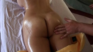 Giving honey lusty massage makes stud's penis hard like hell
