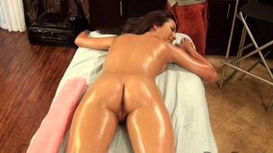 Stud is having a hard time with his boner during massage