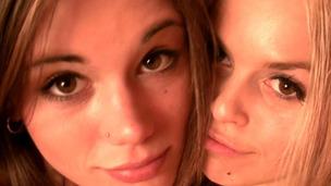 Little Caprice and Sabrina Blond fooling aroun bare in sauna