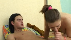 Legal Age Teenager wench wants her partner's hard ramrod inside her wet crack now