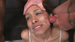 Bunch of horny cum-whores receiving hawt juice on their faces