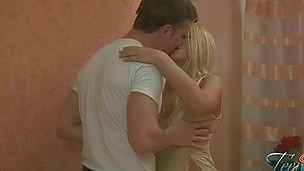 Pretty stud is giving a kiss and undressing his girlfriend on camera in advance of having worthy sex